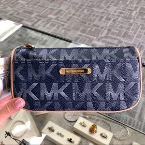 Michael Kors Jet Set Cosmetic Case Bag blue logo